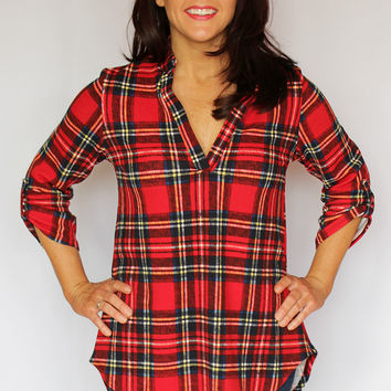 Red Plaid Tunic Top with Roll Tab Sleeves