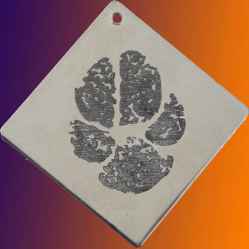 Custom Personalized Pet Paw Print Engraved Pendant Necklace