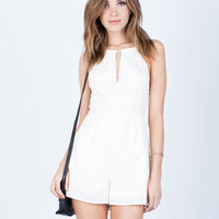 Cross Back Linen Romper