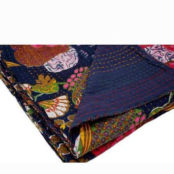 Handmade INDIAN Hand-Stitched Patchwork Vintage Kantha Quilt Hand-Stitched Queen Kantha Throw Floral Recycled Old Sari