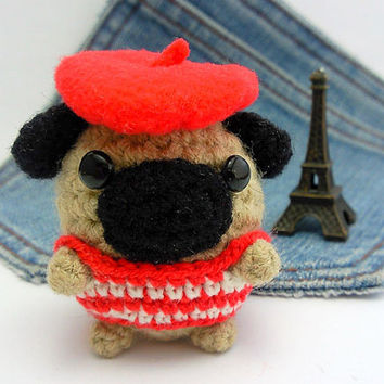 Amigurumi Pug Dog, French style crochet Pug. Dog crochet plushie. Pug toy.