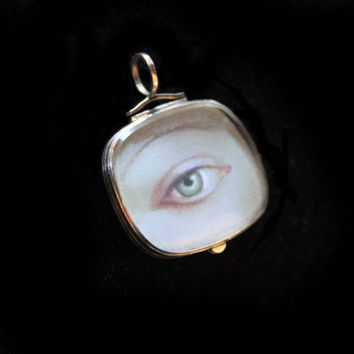 Gold Locket C 1800 English With Lover's Eye Miniature Painting