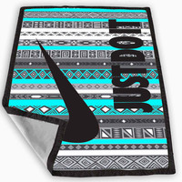 Nike Just Do It on aztec mint pattern Blanket for Kids Blanket, Fleece Blanket Cute and Awesome Blanket for your bedding, Blanket fleece **