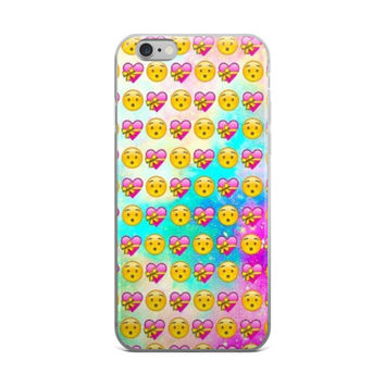 Shocked Face & Heart With Ribbon Emoji Collage Cute Girly Girls Tie Dye iPhone 4 4s 5 5s 5C 6 6s 6 Plus 6s Plus 7 & 7 Plus Case