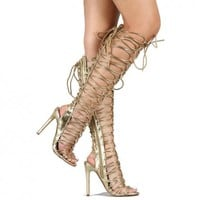 gold metallic knee high boots lace up open toe sandal