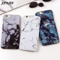 JAMULAR Retro Stone Marble Cases for iPhone X 6 6s 7 Plus PC Hard Cover For iPhone 8 7 Plus 5s SE Accessories Back Covers Case