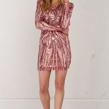 Low Back Sequin Dress in Blush