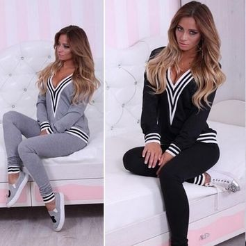 Casual Women Sweatshirt Tops+Pants Fashion Tracksuit Set 2 Pcs Outfit Sports Women Suit