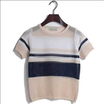 Hollow Out Blouse Summer Tops Pullover Stripes T-shirts [8431755021]