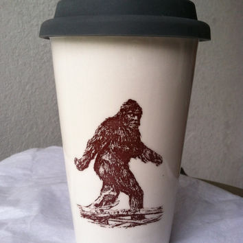 White Ceramic Big Foot/Sasquatch 12 oz. travel mug (w/choice of rubber topper)