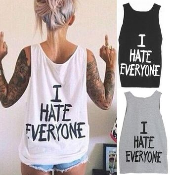 3 Colors  'I HATE EVERYONE' Tank Top