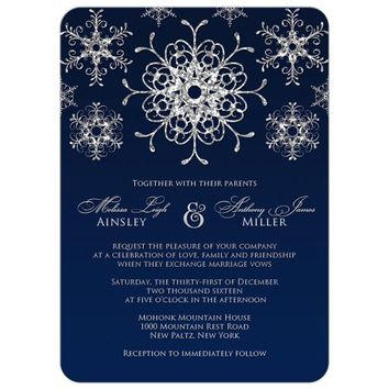 Wedding Invitation | Silver Faux Glitter Snowflakes on Midnight Blue