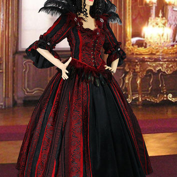 Renaissance Victorian Dress Gown includes Bodice, Skirt, Handmade with Brocade, Multiple Colors Available