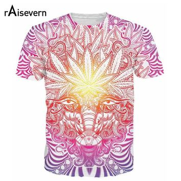 Raisevern New Psychedelic Baphomet Style 3D T Shirt Weed Goat T-shirt Casual Weed Leaf T Shirt Fashion Tees Tops Camisetas