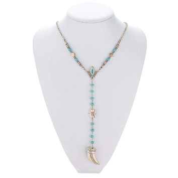 Native American Turquoise Beaded Tusk Necklace