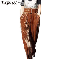 [TWOTWINSTYLE] 2017 Spring With Belt Fashion Velvet High Waist Wide Leg Pants Women New Trousers Clothing