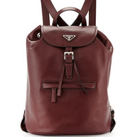 Prada Soft Calfskin Medium Backpack, Bordeaux (Granato)
