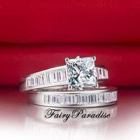 2 pcs Bridal Wedding Set: 2 Ct Princess Cut Engagement Ring +total 1 ct Emerald cut man made diamonds Channel-set Half Eternity Wedding Band