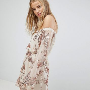 Kiss The Sky Off Shoulder Mini Dress With Sequin Embellishment at asos.com