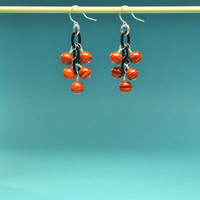 Tangerine and Black Swirl Floating Lightweight Dangle Earrings