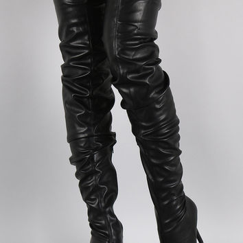 Anne Michelle Slouchy Pointy Toe Over-The-Knee Stiletto Boots