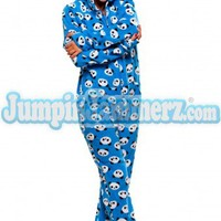 Blue Pandas  - Hooded Footed Pajamas - Pajamas Footie PJs Onesuit One Piece Adult Pajamas - JumpinJammerz.com
