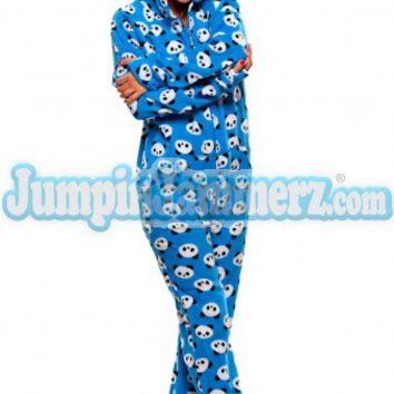 blue pandas hooded footed pajamas from jumpinjammerz