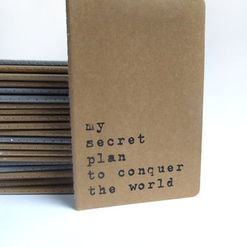 my secret plan to conquer the world -  Moleskine notebook with recycled hand screened cover.