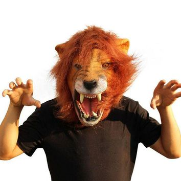 DKF4S 2016 Halloween Props Adult Angry Lion Head Masks Animal Full Celebrity Party Fancy Classic Cosplay Latex Lion Mask