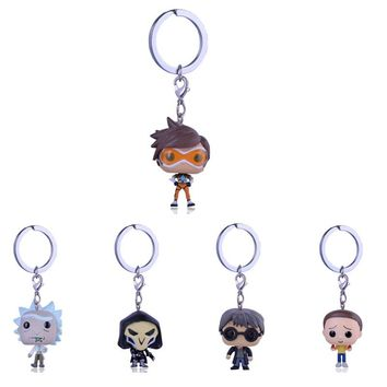 Pocket Funko Pop Overwatch Harri Potter Keychain Rick and Morty key chain action Figures Toys Action Figure Kids Toys Keyrings