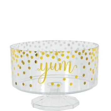 Large Metallic Gold Polka Dots Plastic Trifle Container 76oz | Party City