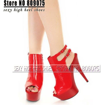 Buckle 6 Inch Peep Toe High Heel Shoes Rome Sexy Clubbing Dancer High Heels 15cm Gladiator Platform Strappy Sandals = 1945649604