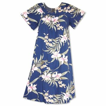 Bamboo Orchid Blue Hawaiian Rayon Tea Muumuu Dress