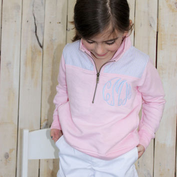 Kids Monogrammed Gingham Pullover French Terry Quarter Zip