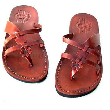 "Biblical Leather Ladies Sandals  Handmade Flip-Flop   ""Flower 2"" Design ! size's : US 5-10.5   EU 35-42"