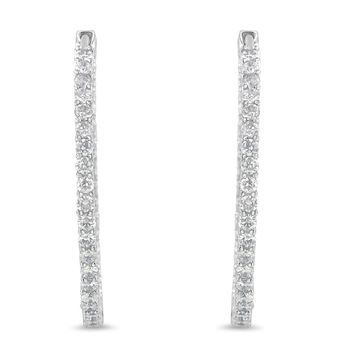 10K White Gold 2ct TDW Round-cut Diamond Circle Hoop Earrings (I-J,I1-I2)