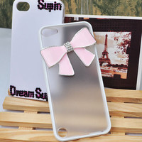 Elegant pink bow TPU add PC phone cover soft frame and hard back phone case for iPod touch 5