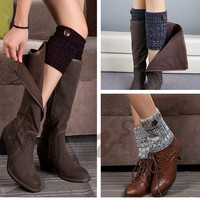 Crochet Button Leg Warmer Boot Cuff Socks