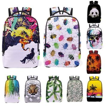 Women Men Backpack 3D Printing Galaxy Travel Satchel Rucksack Bagpack Students Large Bookbag School Bag Mochilas Escolares *7719