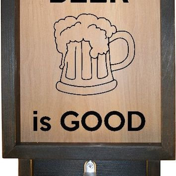 "Wooden Shadow Box Bottle Cap Holder with Bottle Opener 9""x15"" - Beer is Good with Mug"