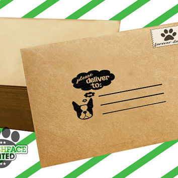 Custom mailing stamp 'Please deliver to' - your choice of Smooshface dog breed and wording - rubber stamp with wood handle