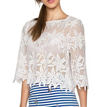 White Mesh Daisy Embroidered Blouse