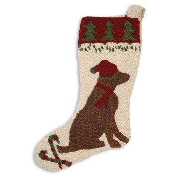 "17"" Christmas Stocking with Chocolate Lab in Santa Hat"
