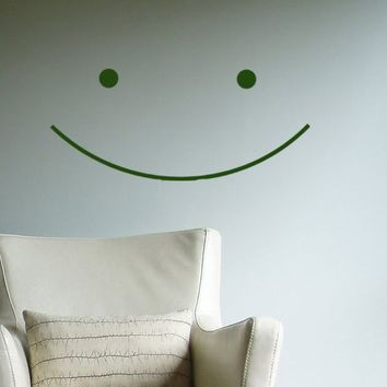 $19.00 Big Happy Smile Vinyl Wall Decal Sticker  great by HouseHoldWords