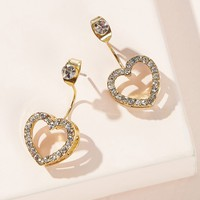 Rhinestone Decor Heart Stud Earrings 1pair