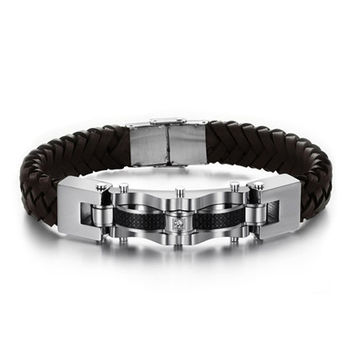 Genuine Leather & Stainless Steel Bracelet