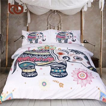 BeddingOutlet 3 Pcs Rainbow Mandala Elephant Duvet Cover Set Bohemian Indian Pastel Floral Bed Set Hippie Gypsy Bedding Queen