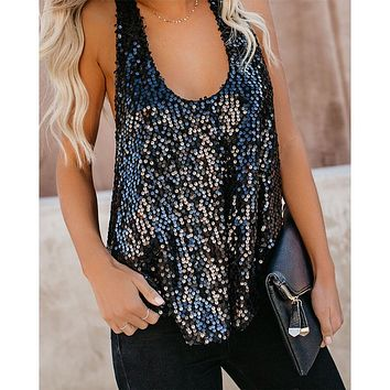 Cami Sequined Tank Tops Casual Sleeveless Blouse