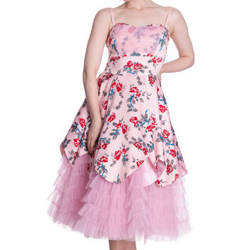 Pastel Goth Pink Steampunk Dark Lady Pink Tulle Long Party Dress