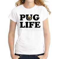 Popular design Motorpug vintage printed women t-shirt short sleeve casual lady tops novelty Pug Life letter printed funny tee